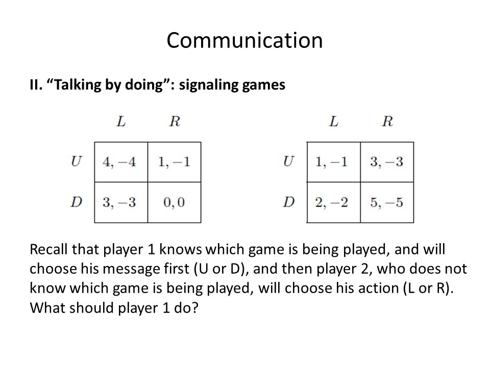 """Communication II. """"Talking by doing"""": signaling games Recall that player 1 knows which game is being played, and will choose his message first (U or D"""