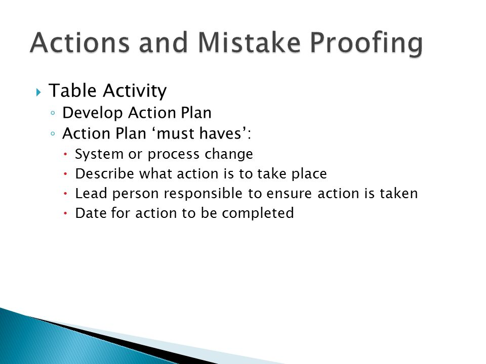  Table Activity ◦ Develop Action Plan ◦ Action Plan 'must haves':  System or process change  Describe what action is to take place  Lead person responsible to ensure action is taken  Date for action to be completed