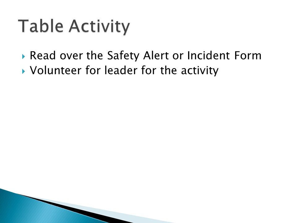  Read over the Safety Alert or Incident Form  Volunteer for leader for the activity