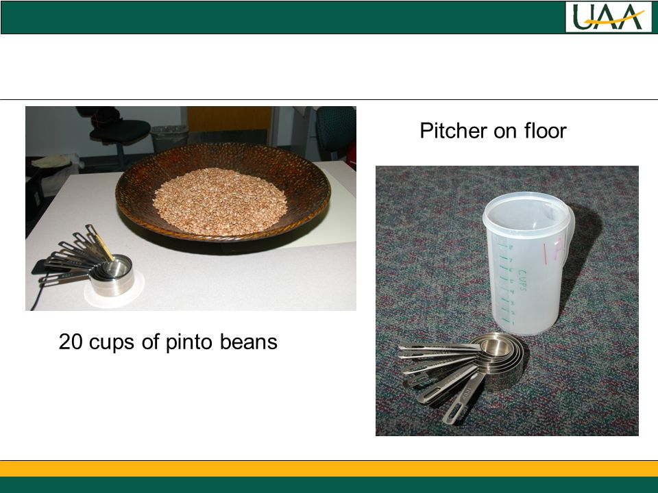 20 cups of pinto beans Pitcher on floor