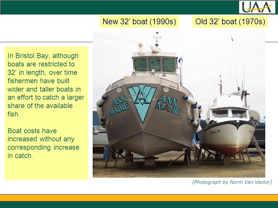In Bristol Bay, although boats are restricted to 32' in length, over time fishermen have built wider and taller boats in an effort to catch a larger share of the available fish.