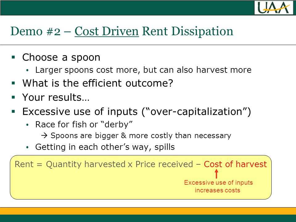 Demo #2 – Cost Driven Rent Dissipation  Choose a spoon Larger spoons cost more, but can also harvest more  What is the efficient outcome.