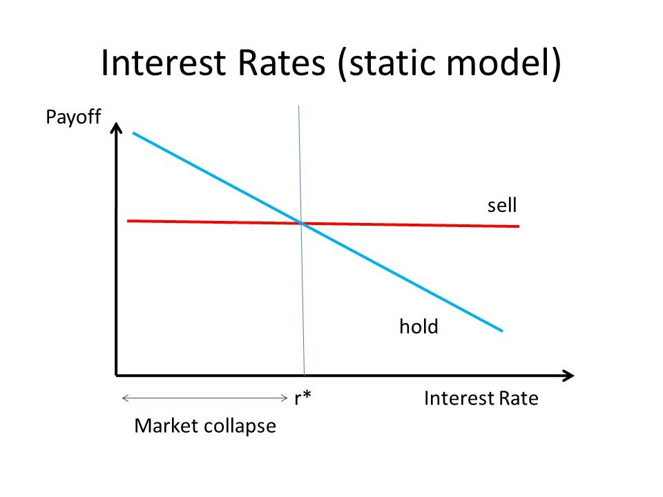 Interest Rates (static model) sell hold Interest Rate Payoff r* Market collapse