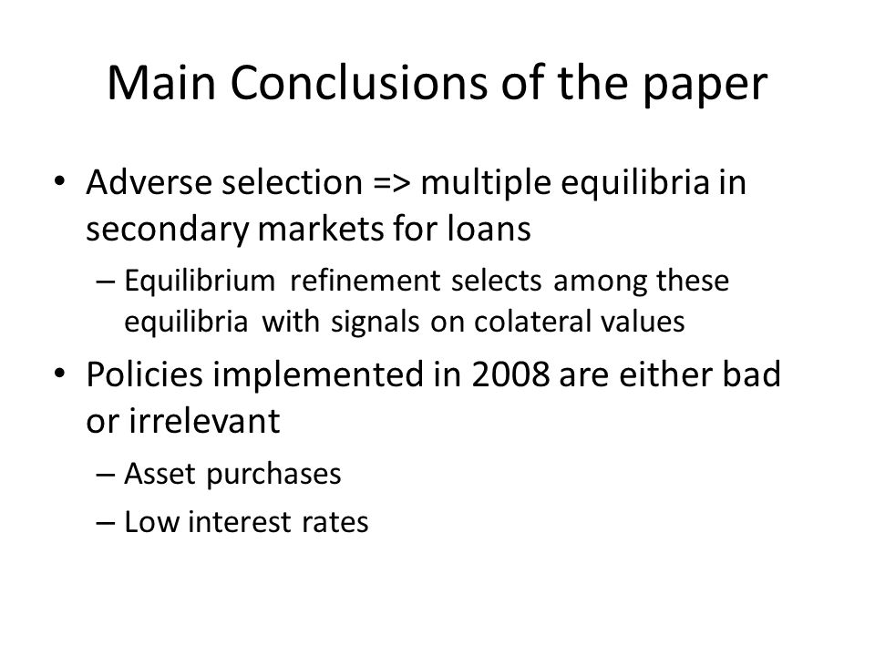 Main points of discussion Interpretation of secondary market – Highlight some modelling choices: assume that new issues of ABS have the same distributions of returns over time.