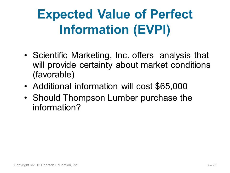Expected Value of Perfect Information (EVPI) Scientific Marketing, Inc.