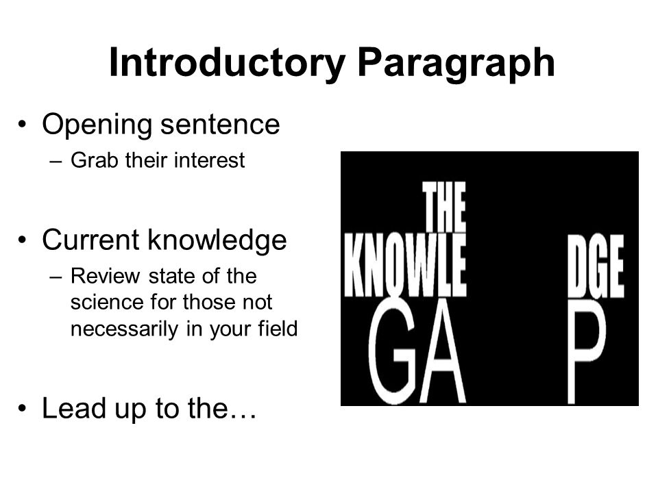 Introductory Paragraph Opening sentence –Grab their interest Current knowledge –Review state of the science for those not necessarily in your field Le