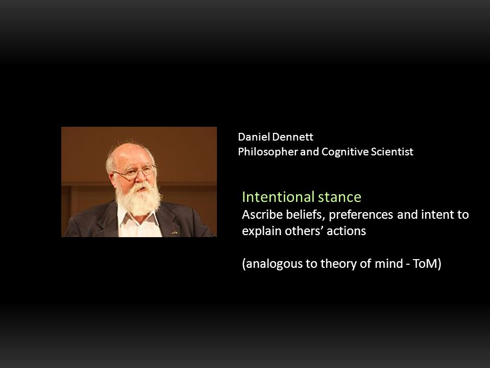 Daniel Dennett Philosopher and Cognitive Scientist Intentional stance Ascribe beliefs, preferences and intent to explain others' actions (analogous to theory of mind - ToM)