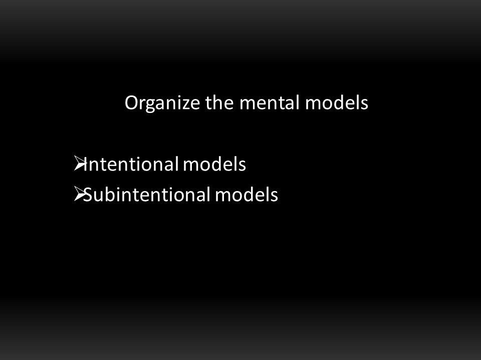 Organize the mental models  Intentional models  Subintentional models