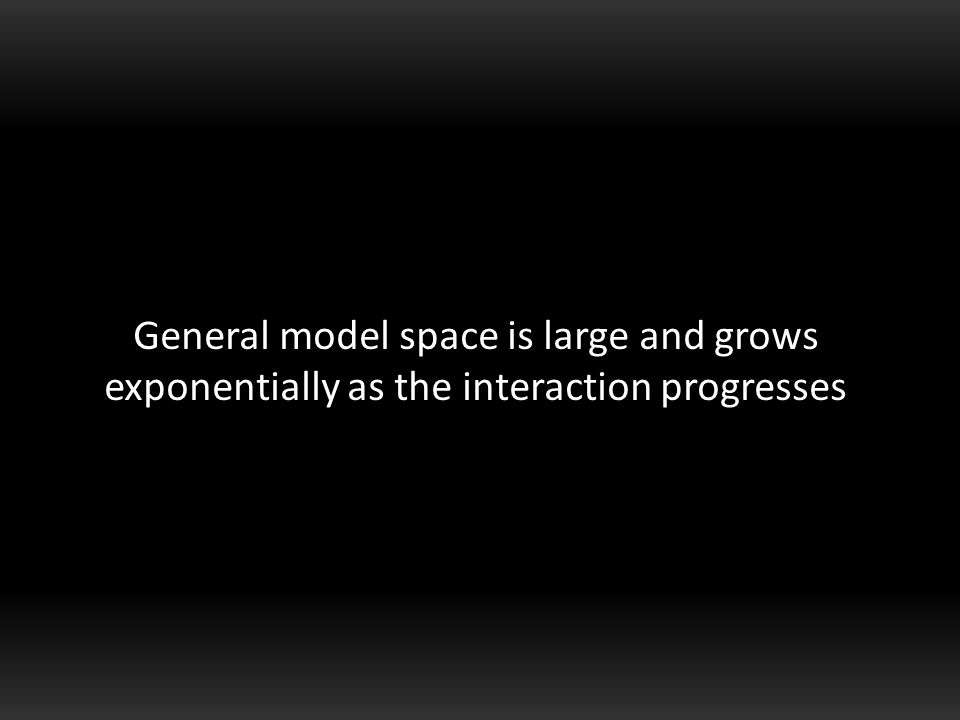 General model space is large and grows exponentially as the interaction progresses