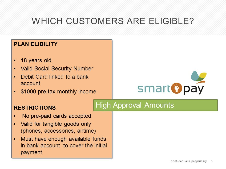5 WHICH CUSTOMERS ARE ELIGIBLE? confidential & proprietary PLAN ELIBILITY 18 years old Valid Social Security Number Debit Card linked to a bank accoun