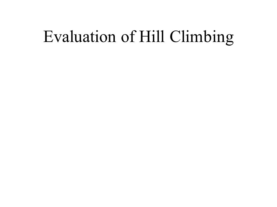 Evaluation of Hill Climbing