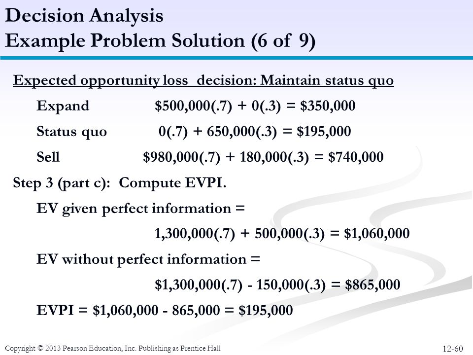 12-60 Copyright © 2013 Pearson Education, Inc. Publishing as Prentice Hall Expected opportunity loss decision: Maintain status quo Expand $500,000(.7)