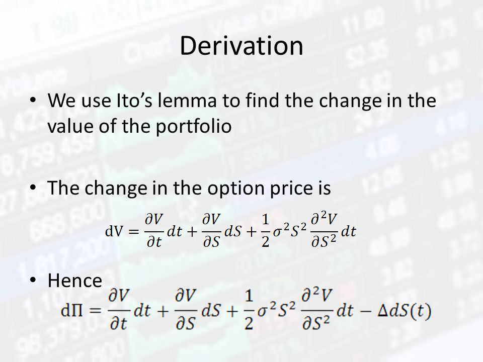 Derivation We use Ito's lemma to find the change in the value of the portfolio The change in the option price is Hence