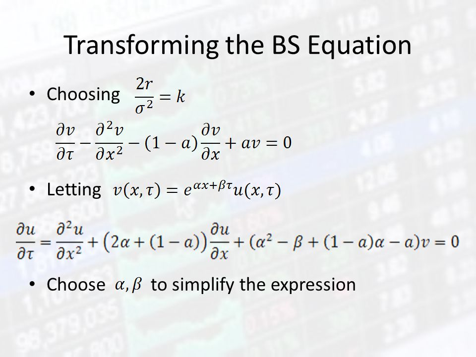 Transforming the BS Equation Choosing Letting Choose to simplify the expression