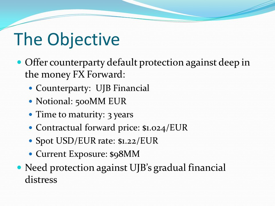 The Objective Offer counterparty default protection against deep in the money FX Forward: Counterparty: UJB Financial Notional: 500MM EUR Time to matu