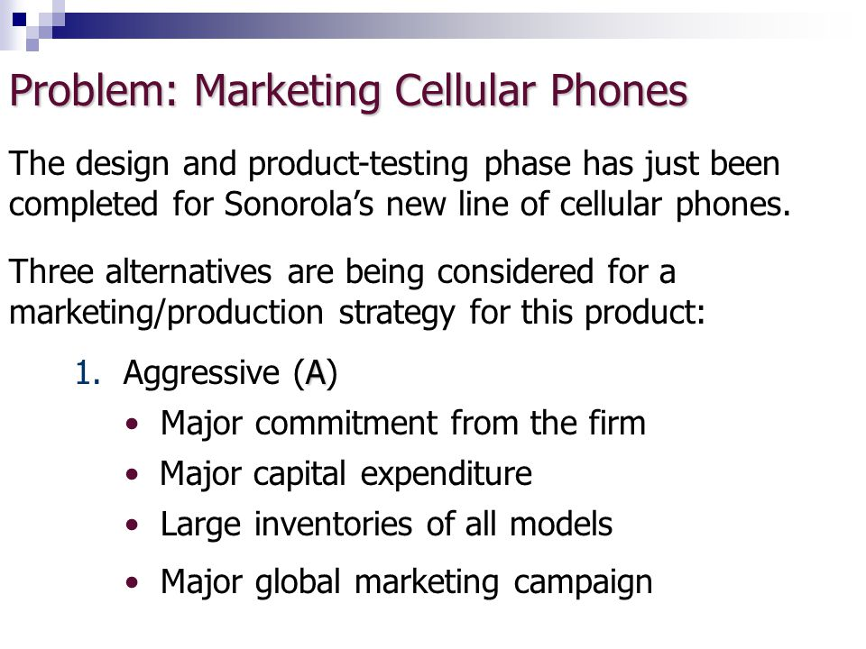 Problem: Marketing Cellular Phones The design and product-testing phase has just been completed for Sonorola's new line of cellular phones.