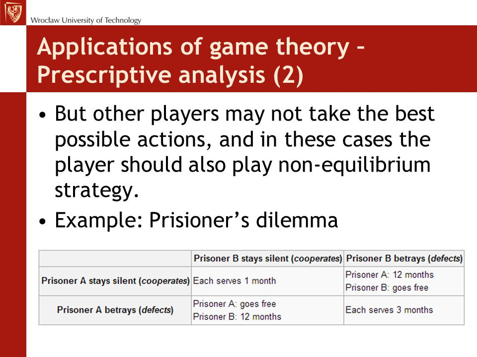 Applications of game theory – Prescriptive analysis (2) But other players may not take the best possible actions, and in these cases the player should