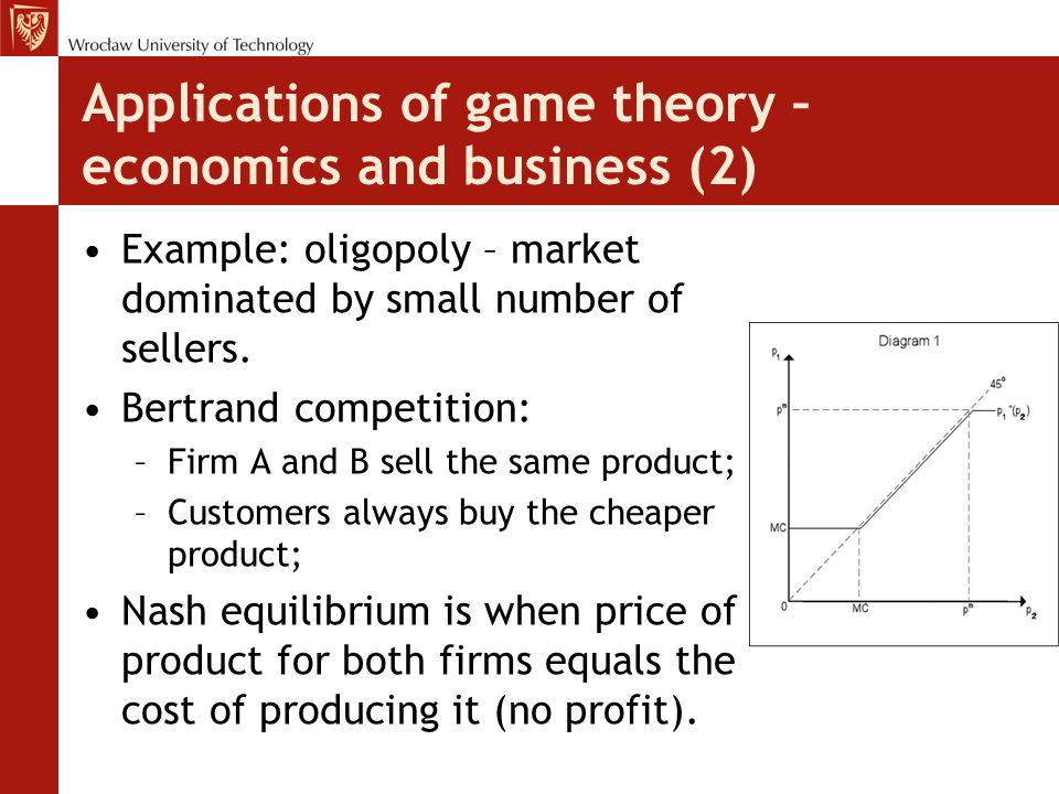 Applications of game theory – economics and business (2) Example: oligopoly – market dominated by small number of sellers. Bertrand competition: –Firm