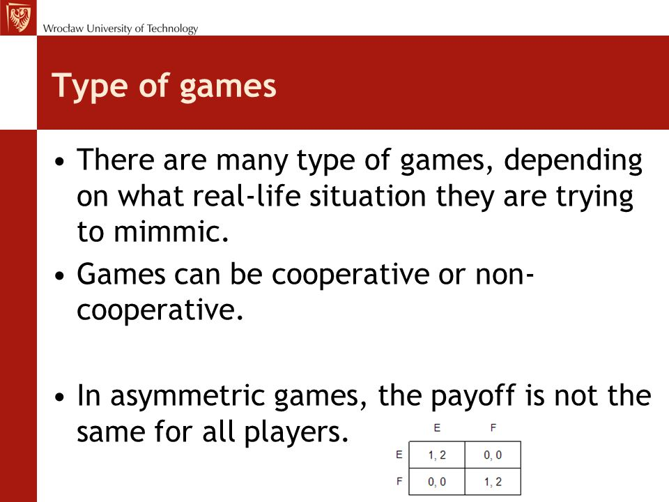 Type of games There are many type of games, depending on what real-life situation they are trying to mimmic. Games can be cooperative or non- cooperat