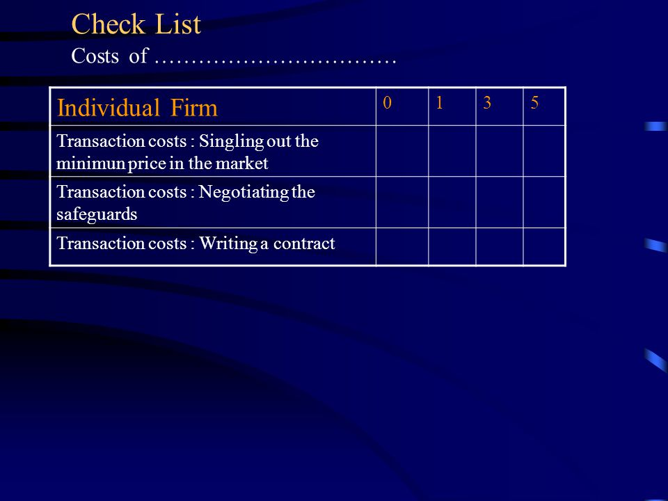 Individual Firm 0135 Transaction costs : Singling out the minimun price in the market Transaction costs : Negotiating the safeguards Transaction costs : Writing a contract Check List Costs of ……………………………
