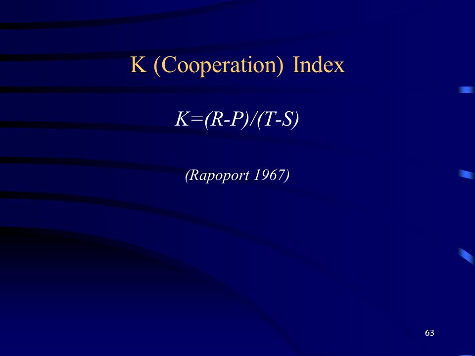 63 K (Cooperation) Index K=(R-P)/(T-S) (Rapoport 1967)