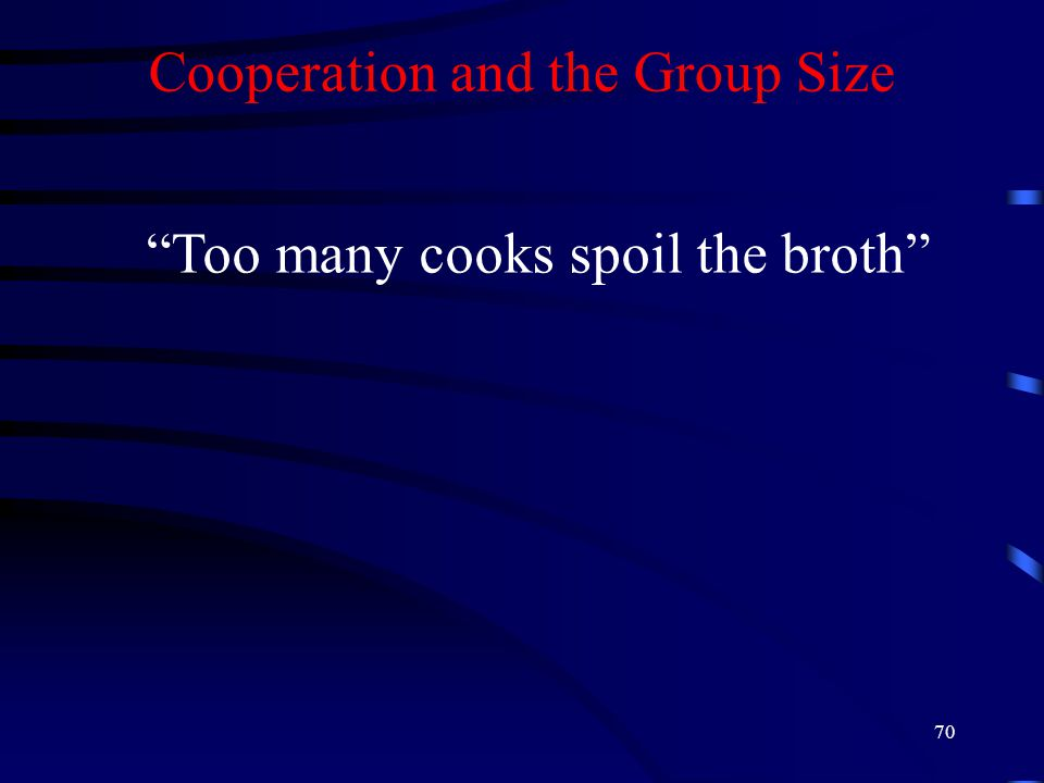 70 Cooperation and the Group Size Too many cooks spoil the broth