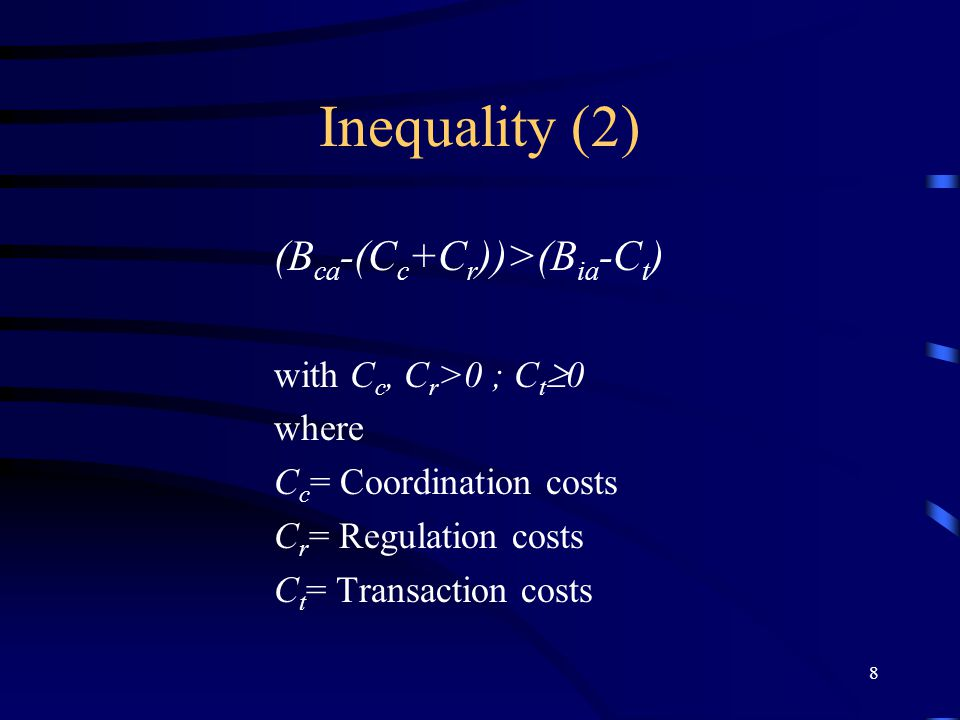 8 Inequality (2) (B ca -(C c +C r ))>(B ia -C t ) with C c, C r >0 ; C t  0 where C c = Coordination costs C r = Regulation costs C t = Transaction costs