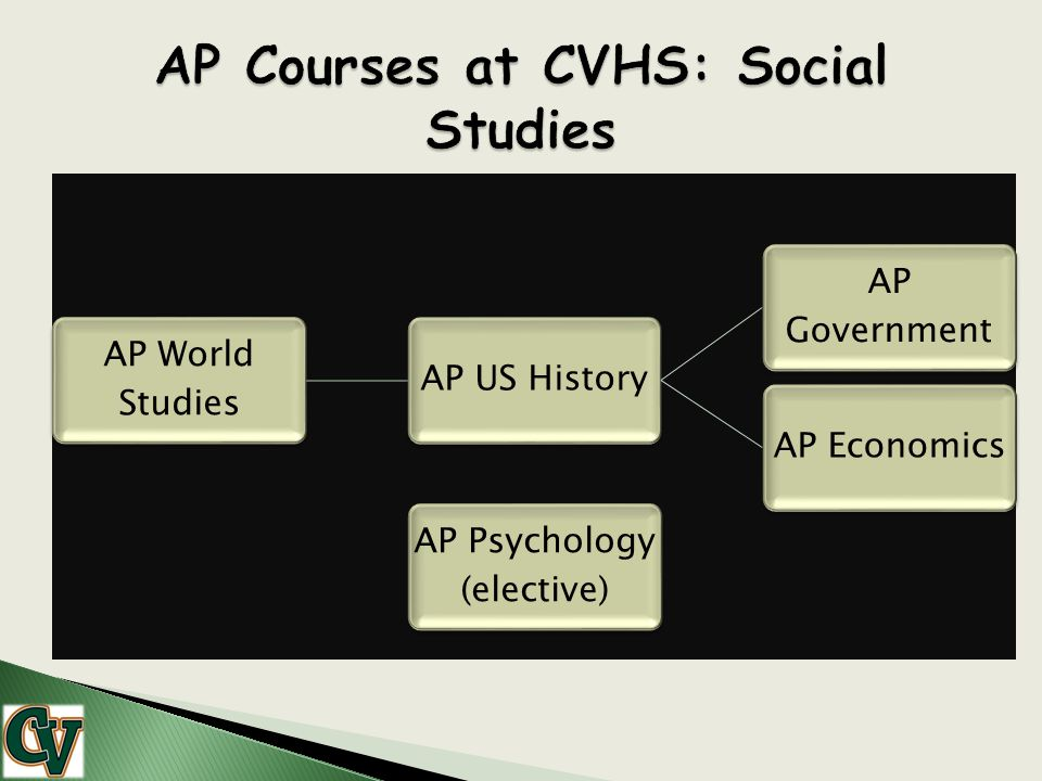 AP World Studies AP US History AP Government AP Economics AP Psychology (elective)