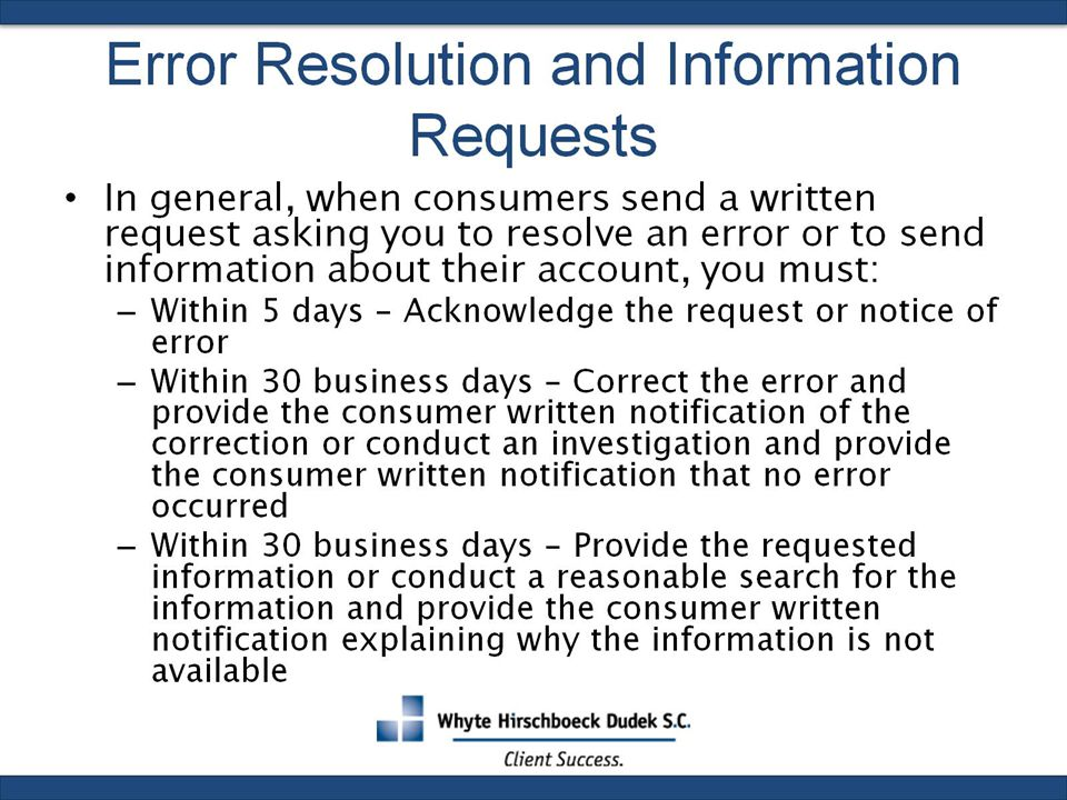 Error Resolution and Information Requests