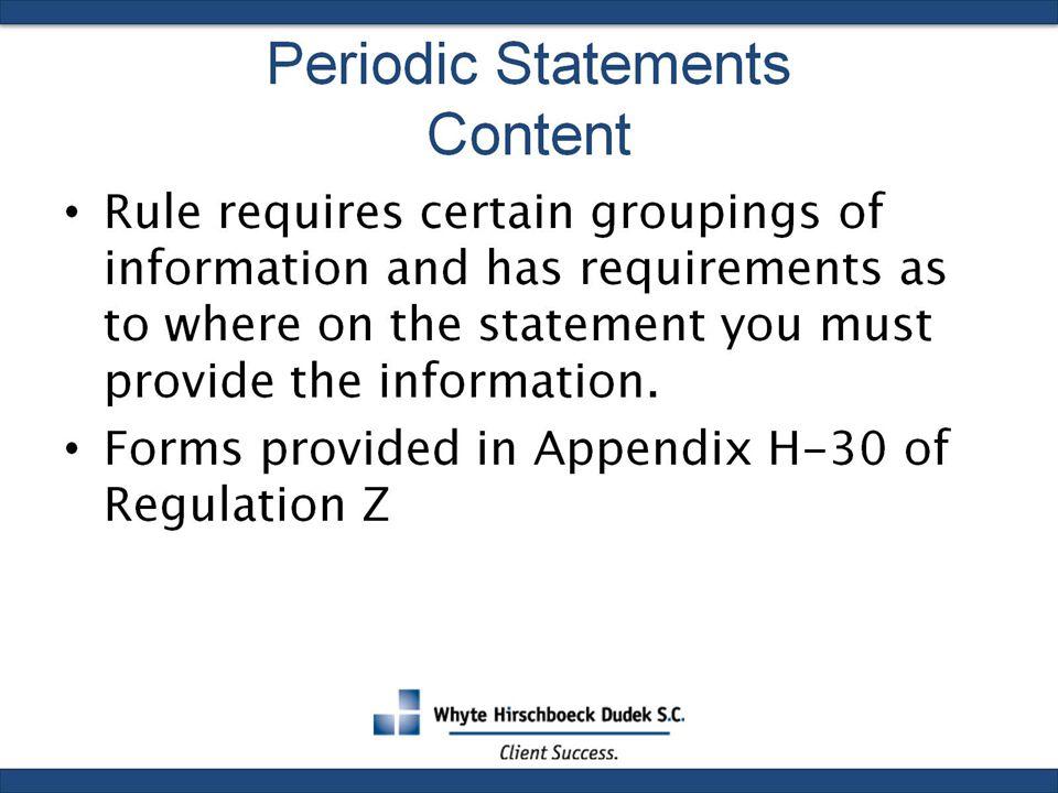 Periodic Statements Content