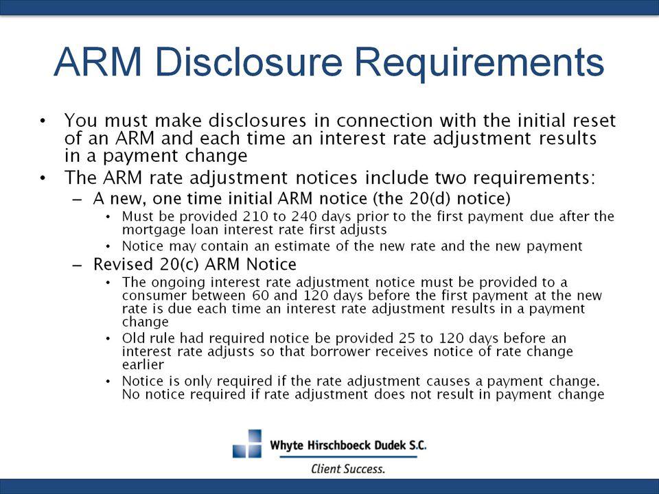 ARM Disclosure Requirements
