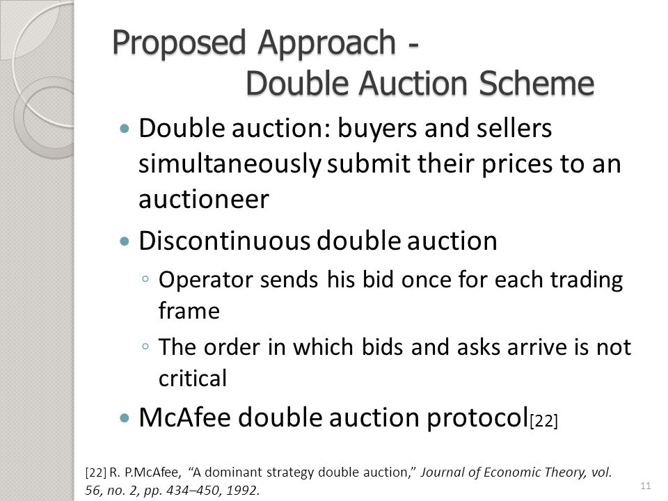 Proposed Approach - Double Auction Scheme Double auction: buyers and sellers simultaneously submit their prices to an auctioneer Discontinuous double auction ◦ Operator sends his bid once for each trading frame ◦ The order in which bids and asks arrive is not critical McAfee double auction protocol [22] 11 [22] R.
