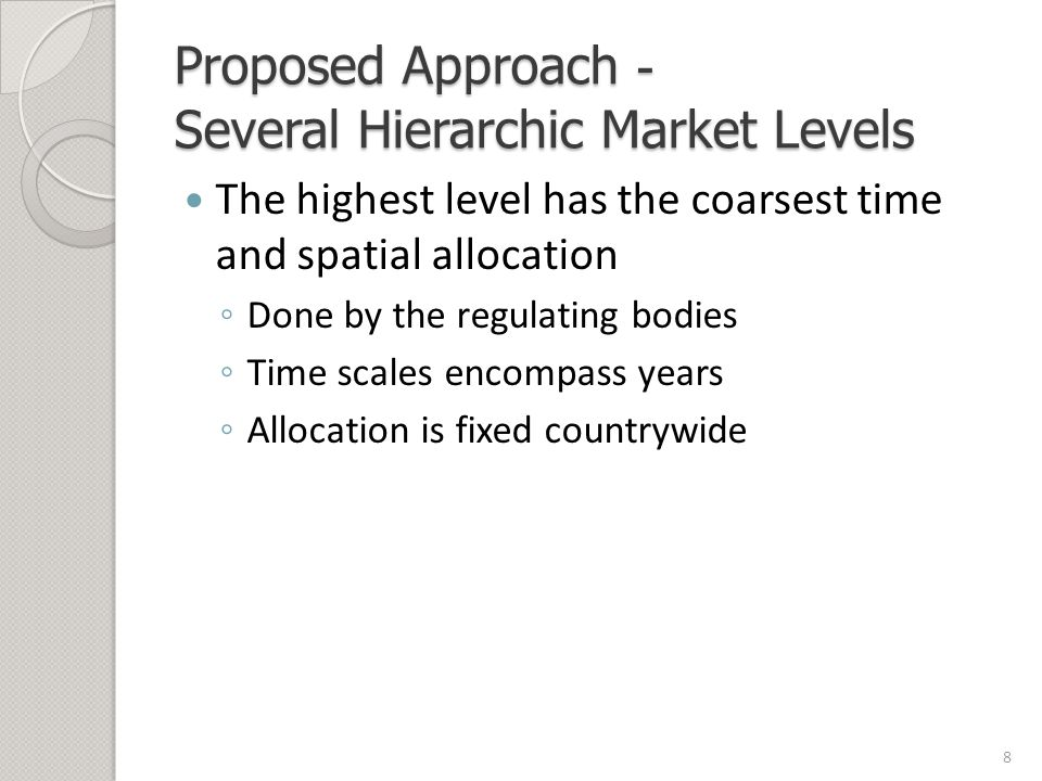 Proposed Approach - Several Hierarchic Market Levels The highest level has the coarsest time and spatial allocation ◦ Done by the regulating bodies ◦ Time scales encompass years ◦ Allocation is fixed countrywide 8