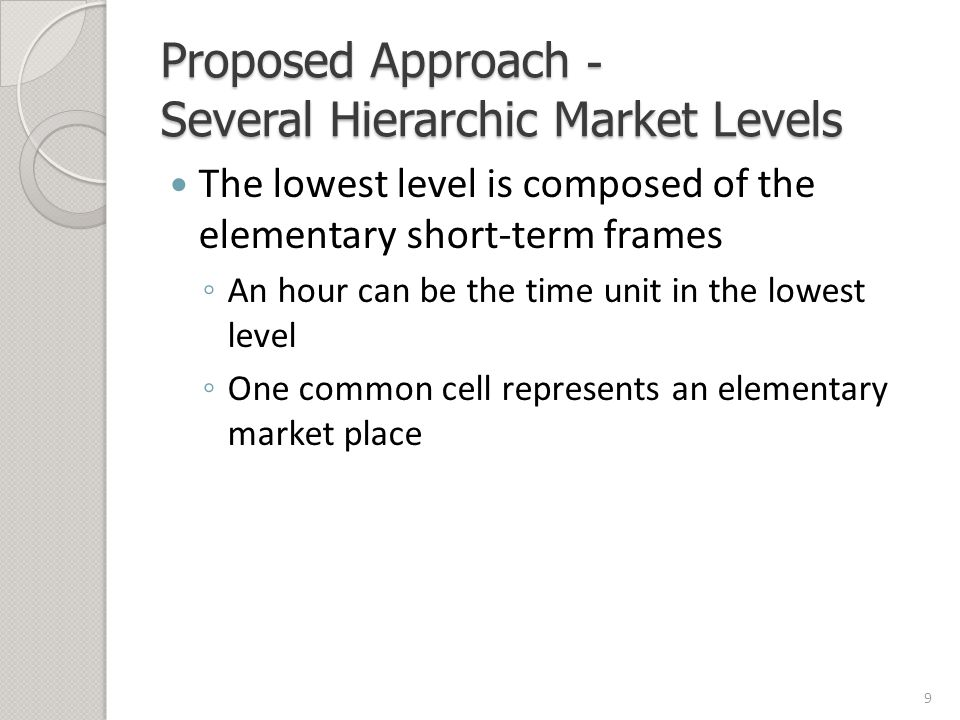 Proposed Approach - Several Hierarchic Market Levels The lowest level is composed of the elementary short-term frames ◦ An hour can be the time unit in the lowest level ◦ One common cell represents an elementary market place 9