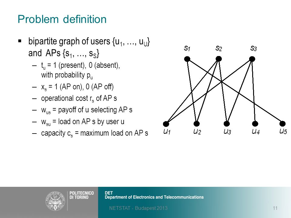 Problem definition NETSTAT - Budapest 201311  bipartite graph of users {u 1, …, u U } and APs {s 1, …, s S } – t u = 1 (present), 0 (absent), with pr