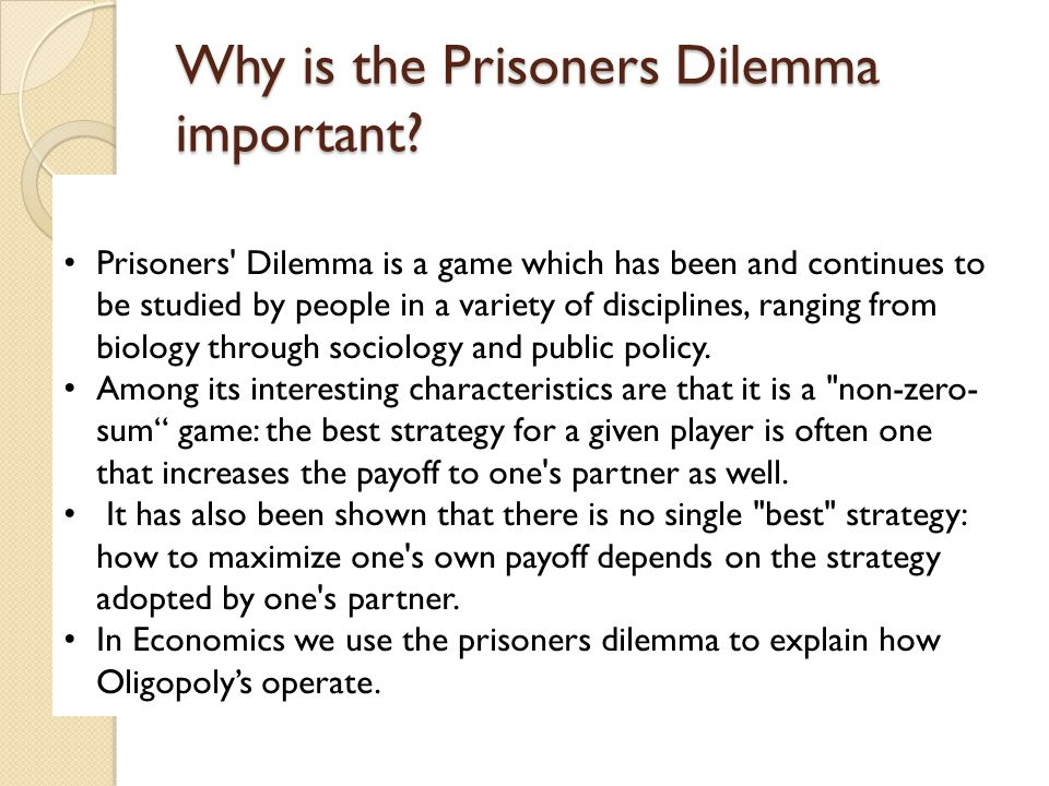 Why is the Prisoners Dilemma important.