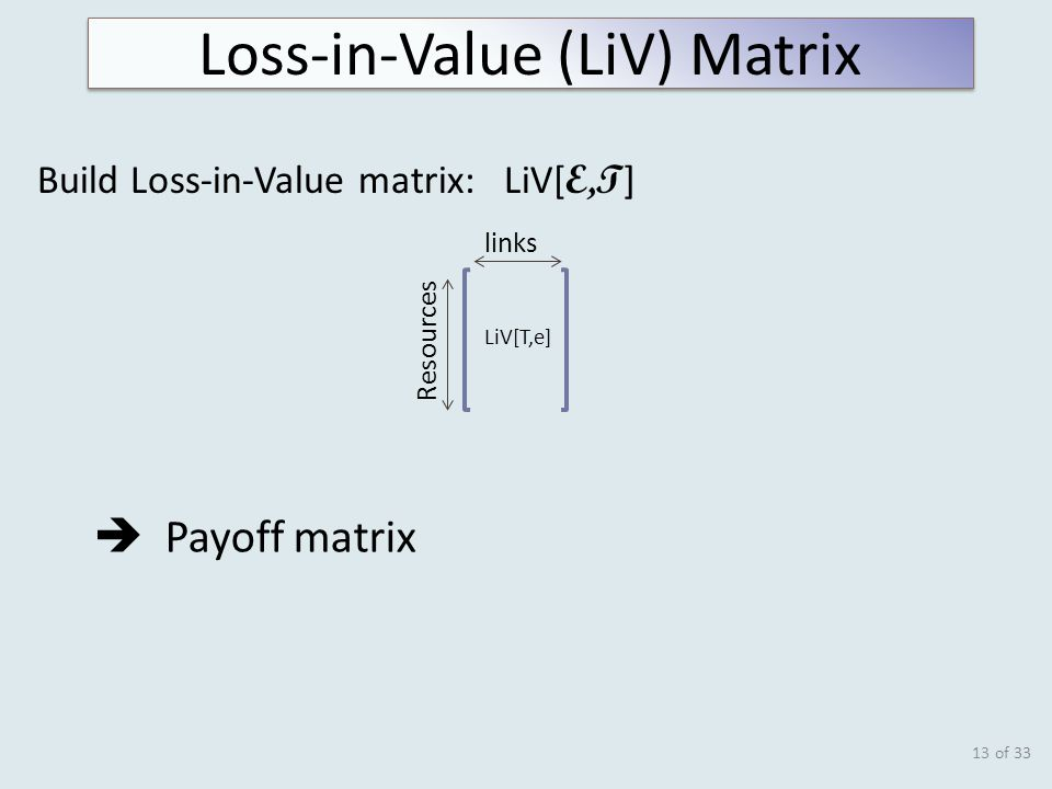 of 33 Build Loss-in-Value matrix: LiV[ E,T ] 13 LiV[T,e] Resources links Loss-in-Value (LiV) Matrix  Payoff matrix