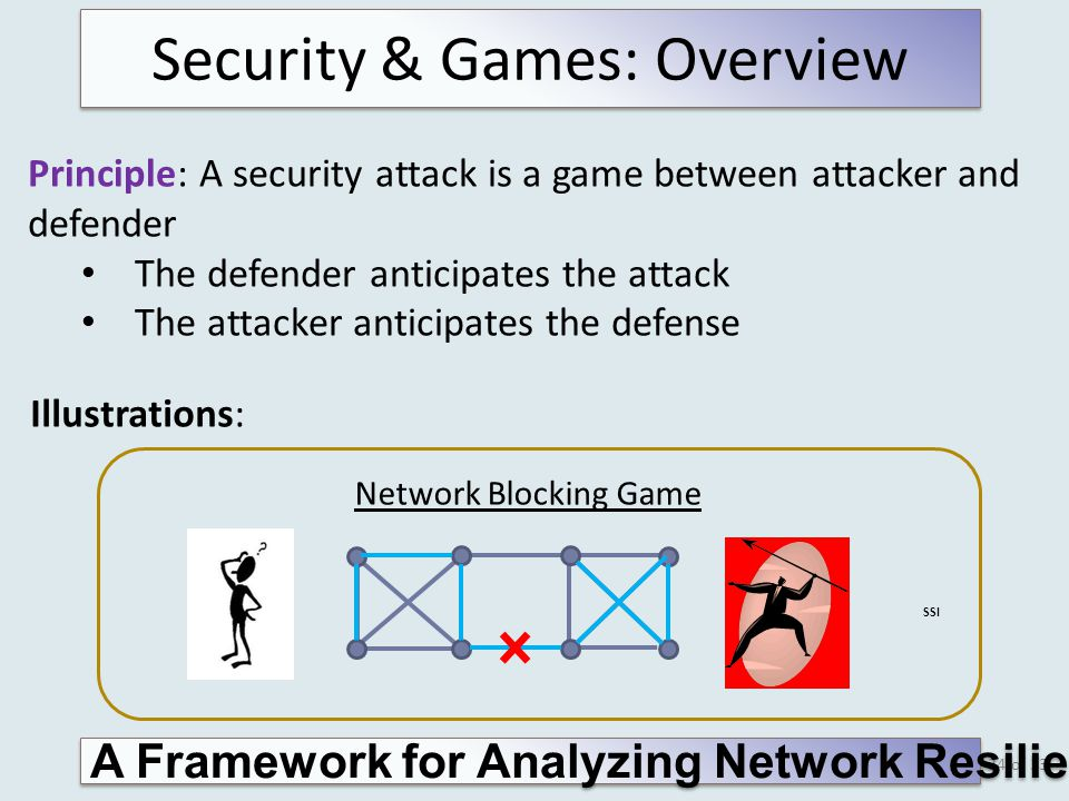 of 33 Security & Games: Overview Principle: A security attack is a game between attacker and defender The defender anticipates the attack The attacker anticipates the defense Illustrations: 34 Network Blocking Game SSI A Framework for Analyzing Network Resilience Against Attacks