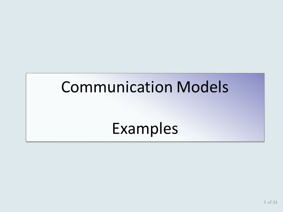 of 33 5 Communication Models Examples Communication Models Examples
