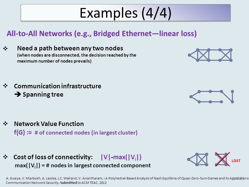 of 33 All-to-All Networks (e.g., Bridged Ethernet—linear loss) LOST Need a path between any two nodes (when nodes are disconnected, the decision reached by the maximum number of nodes prevails) Cost of loss of connectivity: |V|-max(|V i |) max(|V i |) = # nodes in largest connected component   Network Value Function f(G) := # of connected nodes (in largest cluster) Communication infrastructure  Spanning tree   A.