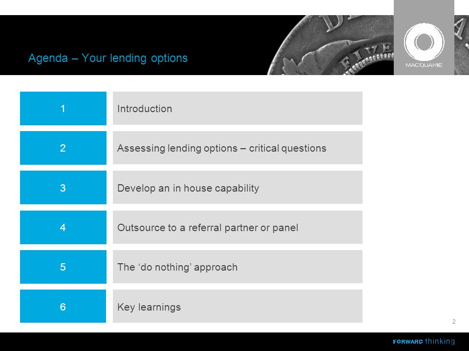 Agenda – Your lending options 2 4 1 2 3 5 Outsource to a referral partner or panel Introduction Assessing lending options – critical questions Develop an in house capability The 'do nothing' approach 6Key learnings