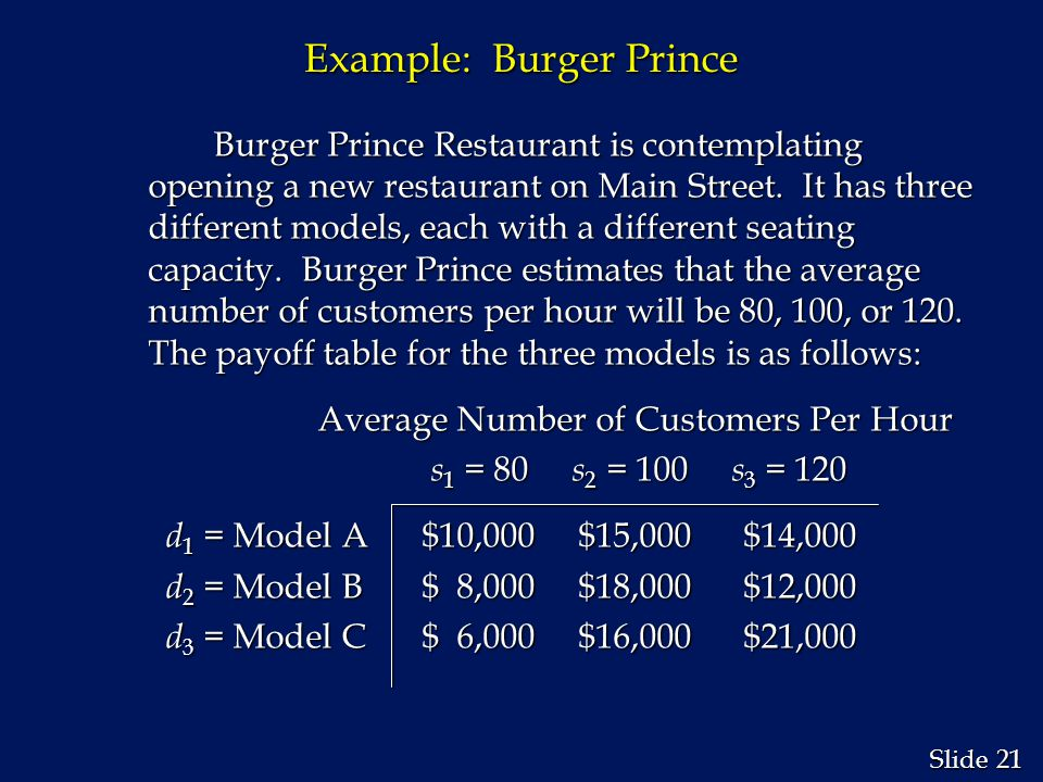 21 Slide Example: Burger Prince Burger Prince Restaurant is contemplating opening a new restaurant on Main Street. It has three different models, each