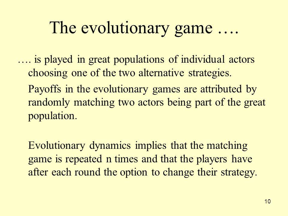 10 The evolutionary game …. ….