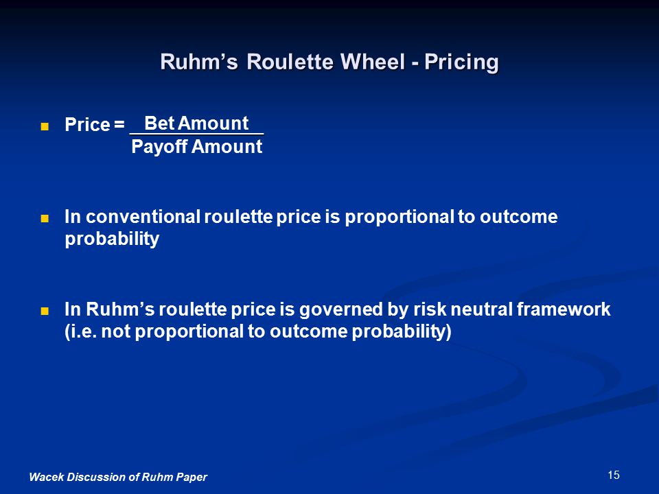 Wacek Discussion of Ruhm Paper 15 Ruhm's Roulette Wheel - Pricing _____________ Price = _____________ Payoff Amount In conventional roulette price is proportional to outcome probability In Ruhm's roulette price is governed by risk neutral framework (i.e.