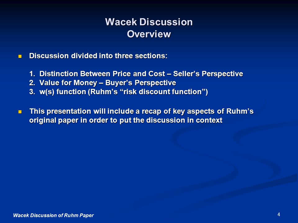 Wacek Discussion of Ruhm Paper 4 Wacek Discussion Overview Discussion divided into three sections: 1.