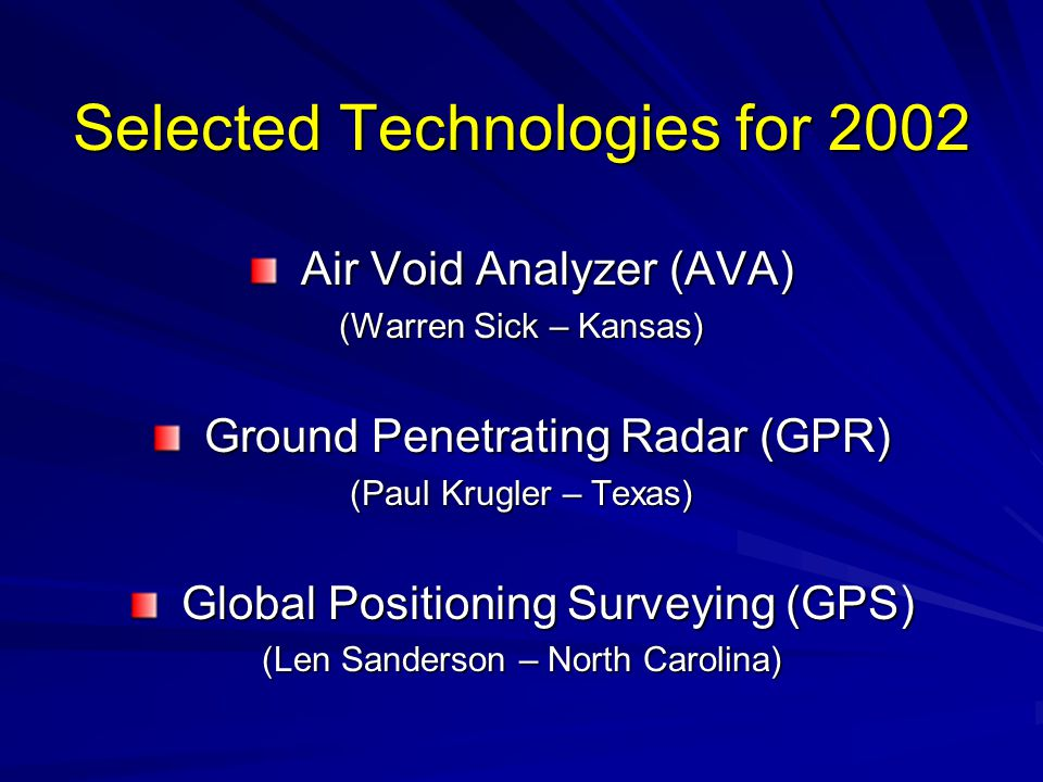 Selected Technologies for 2002 Air Void Analyzer (AVA) Air Void Analyzer (AVA) (Warren Sick – Kansas) Ground Penetrating Radar (GPR) Ground Penetratin