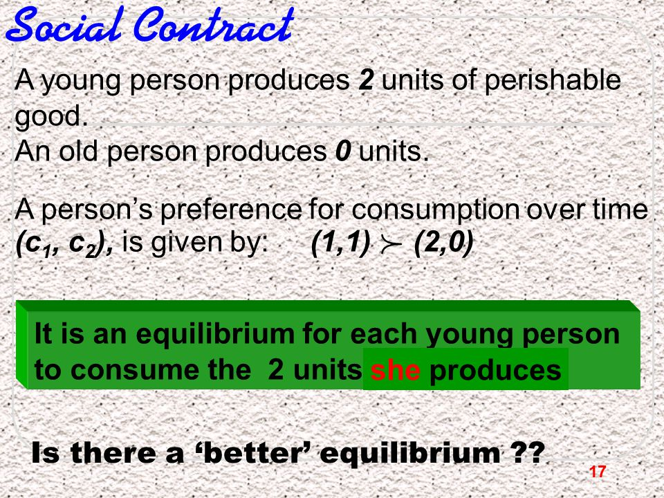 17 Social Contract A young person produces 2 units of perishable good. An old person produces 0 units. A person's preference for consumption over time