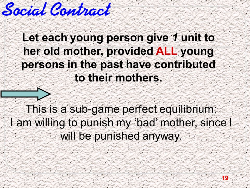 19 Social Contract Let each young person give 1 unit to her old mother, provided ALL young persons in the past have contributed to their mothers. This