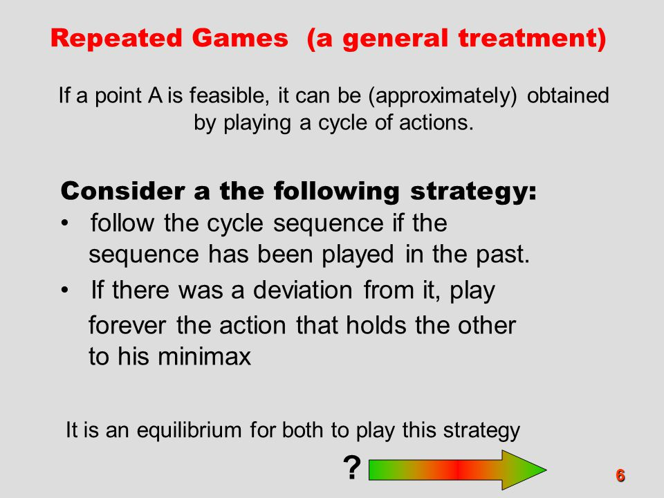 7 Repeated Games (a general treatment) follow the cycle sequence if the sequence has been played in the past.