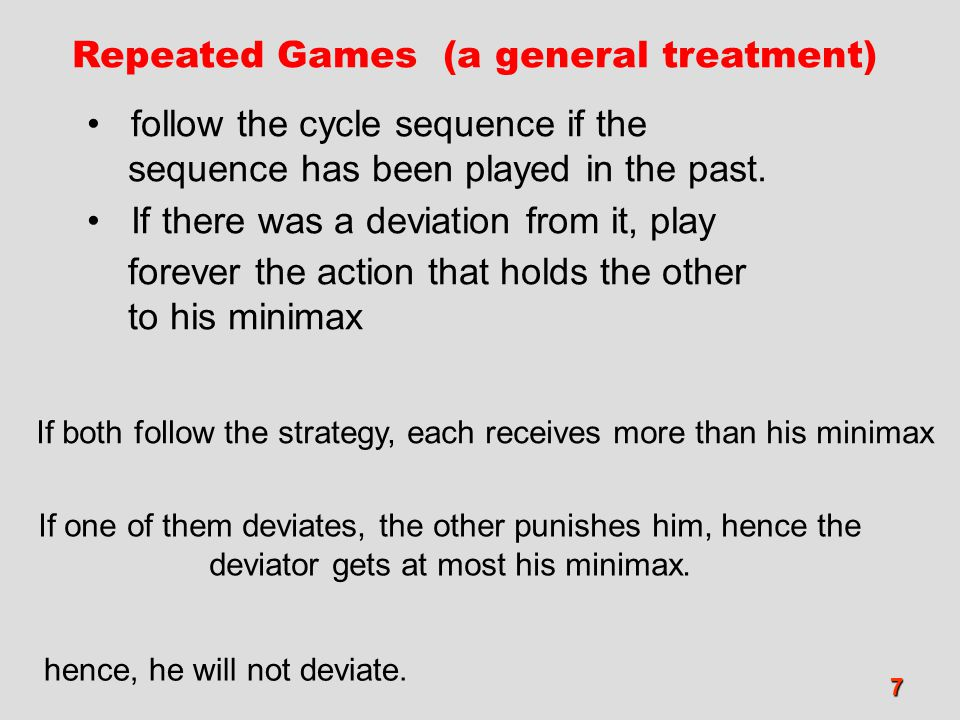 7 Repeated Games (a general treatment) follow the cycle sequence if the sequence has been played in the past. If there was a deviation from it, play f